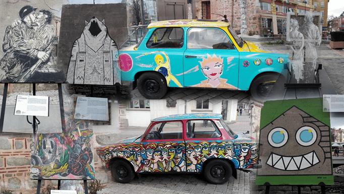 оригинални фрагменти от Берлинската стена - колаж