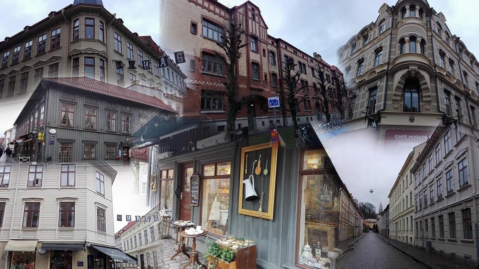 един от най-старите квартали в Гьотеборг - Haga, колаж